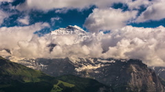 Jungfrau massif high mountain landscape time lapse 4K Stock Footage