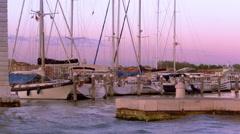Boats in a Venetian Marina Stock Footage