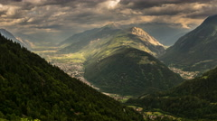 Rhone Alps swiss valley landscape time lapse 4K Stock Footage