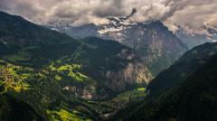 Jungfrau massif and villages on mountainsides, Lauterbrunnen, Kleine Scheidegg - stock footage