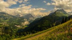 Jungfrau peak and alpine meadow with wild flowers switzerland time lapse Stock Footage