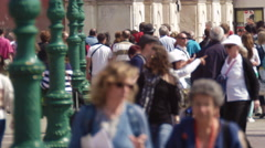 Slow motion shot of crowded walkway in front of the Church of the Scalzi Stock Footage
