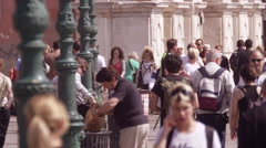 Slow motion shot of crowded walkway in front of the Traghetto Ferrovia Stock Footage