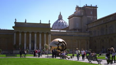 """Sphere within Sphere"" with Vatican in background Stock Footage"