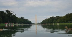 Daytime Washington Monument and Reflecting Pool Establishing Shot Stock Footage