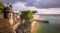 San Juan, Puerto Rico old city walls time lapse. Stock Footage