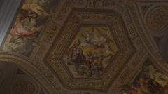 Ornate ceiling in the Vatican Museum Stock Footage