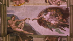 "Close-up of Michelangelo's ""Creation of Adam"" Stock Footage"