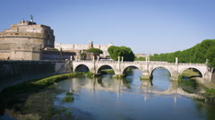 View of Castel Sant'Angelo and Ponte Sant'Angelo Stock Footage