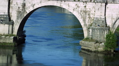 Close-up of an arch underneath Ponte Sant'Angelo Stock Footage