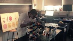 Virus under the microscope in laboratory 4 Stock Footage