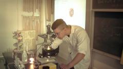 Virus under the microscope in laboratory 6 Stock Footage