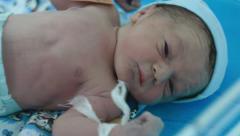Newborn Funny Baby Sneezed - stock footage