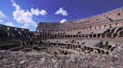 View of the Colosseum's highest wall from its interior Stock Footage