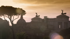 Night shot of the Vittorio Emanuele monument from Colosseum Stock Footage