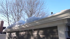 House with Ice Dam Stock Footage