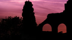 Stock Video Footage of Arches of Constantine's basilica at dusk