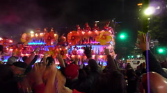 Mardi Gras Endymion Parade - Wide shot of passing float Stock Footage