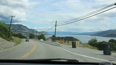 Okanagan Lake in Background of Drive to Peachland Stock Footage