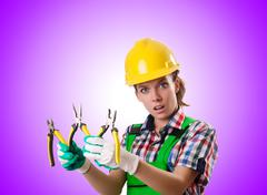Woman worker against the gradient Stock Photos