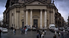 Exterior shot of domed building in the Piazza del Popolo. Stock Footage