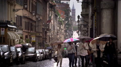 A drizzling day in a Roman street Stock Footage