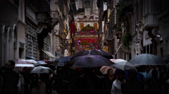 Upward slow motion tilt from street to Via Dei Condotti Stock Footage