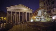 Pantheon and Piazza della Rotonda on a rainy evening Stock Footage
