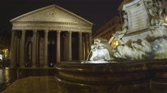 Pan shot of Pantheon and fountain in the Piazza della Rotonda Stock Footage