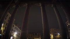 The Piazza della Rotonda through the Pantheon pillars Stock Footage