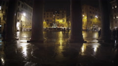 Pillars and square in front of the Pantheon Stock Footage