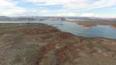 Drone aerial into Lake Powell Stock Footage