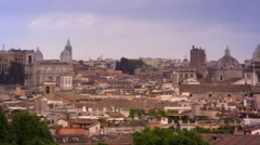 Rome skyline featuring St. Peters basilica, Hotel Piazza Venezia and others Stock Footage
