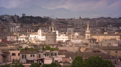 Pan of Roman skyline from Pincian Hill Stock Footage