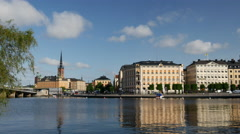 Pan from ridderholmen and Gamla islands in Stockholm Stock Footage