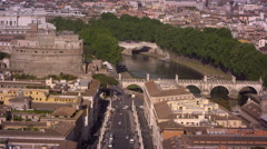 Aerial footage of Tiber, Castel and Ponte Sant'Angelo Stock Footage