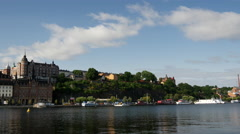 Time lapse from 18th century housing facing Riddarfjärden in Södermalm Stock Footage