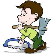 Walking Carpenter - stock illustration