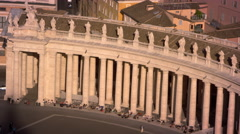 Curved row of columns lining the piazza of St Peter's Basilica Stock Footage