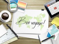 bon voyage written on paper - stock illustration