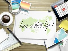 Stock Illustration of have a nice trip written on paper