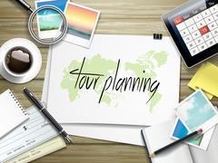 Stock Illustration of tour planning written on paper