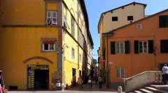 4K footage of houses in the city centre in Lucca, Italy Stock Footage