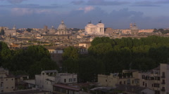 Slow pan of Rome, the Tiber and monuments Stock Footage