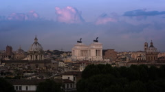 Time lapse of night falling on the Victor Emmanuel II monument Stock Footage