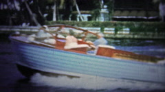 FT. LAUDERDALE, USA - 1957: Harbor patrol in old wooden boats turning quickly. Stock Footage