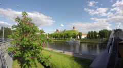 Historical Gediminas hill, Neris river in Vilnius, Lithuania. Timelapse 4K Stock Footage