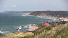 Viewing east along the coast from Hundested to the fishing hamlet Kikhavn Stock Footage