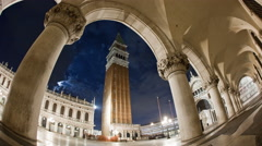 Time-lapse of the tower in Saint Mark's Square as sunset shadows grow. Stock Footage