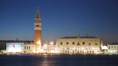 Sunset time-lapse of Saint Mark Square at night from San Giorgio. Stock Footage